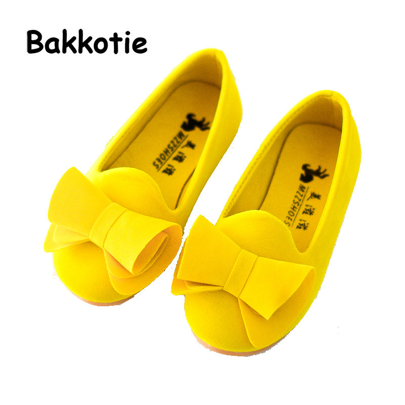 Bakkotie 2018 Spring New Fashion Baby Girl Bow Shoe Children Pu Leather Princess Flat Ki ...