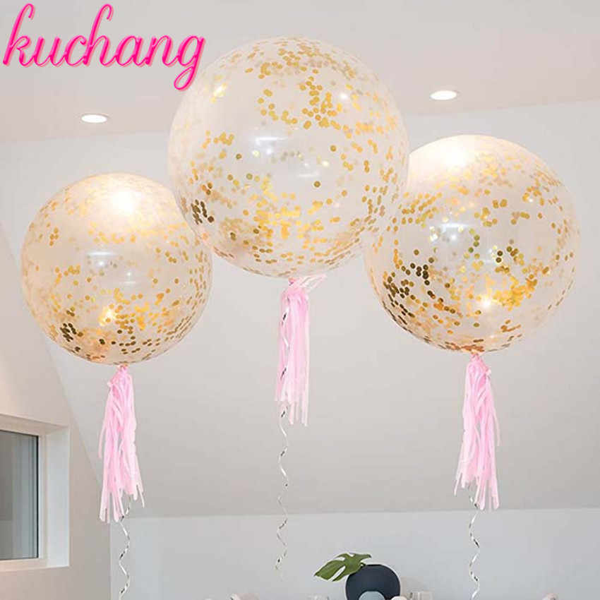 1pcs 36inch 100 Round Rose Gold Pink Confetti Wedding Decoration Balloons Party Supplies Birthday