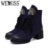WETKISS Ankle Boot Woman Crystal Decor Lace up Lady Booties Thick Block Heels Plush Winter Boot Warm Female Footwear 2018