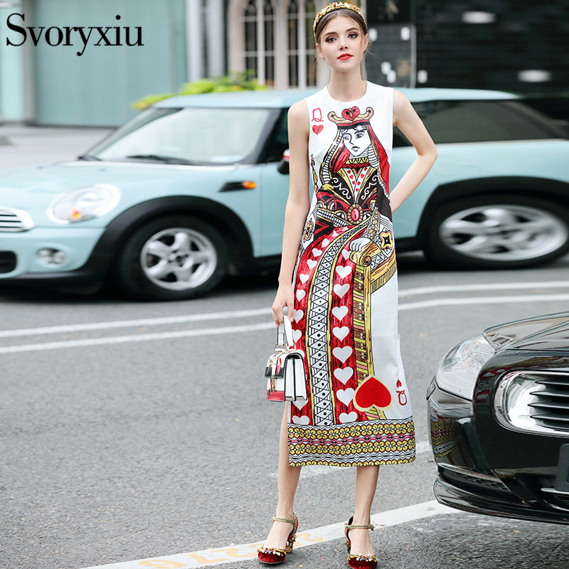SVORYXIU Runway Designer 2018 Summer Long Dress Womens High Quality Sleeveless Heart Shaped Playing Cards Printed Dresses