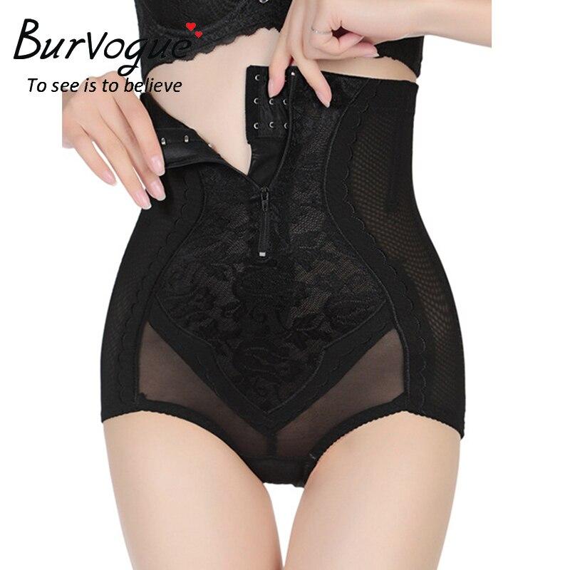 Plus Size XL-5XL Burvogue Women High Waist Slimming Control Panties Underwear Body Shaper Lace Butt Lift Zipper Shapewear
