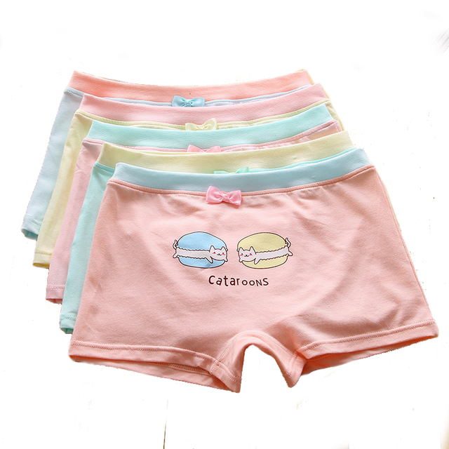a4c9be3ba70 Girls Boyshort Hipster Panties Cotton Bowknot elastic Panty Underwear Ages 7  to 13years Big girl (Pack of 5 )
