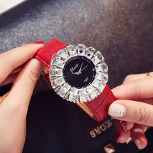Luxury Women Watch Big White Drill Wrist Watch Lady New Fashion Design Diamond Quartz Watch Women Dress Red Clock Leather Strap sinobi 2018 new colorful diamond watch women golden dress geneva clock luxury brand leather strap lady fashion quartz watches