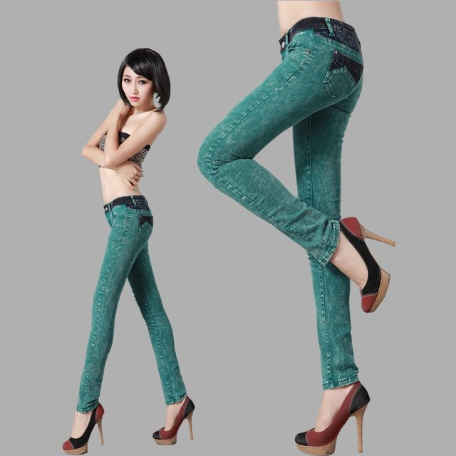 Pencil Skinny Jeans For Women Green Color,Low Waist Cotton Fashion Denim Pants Girls Casual Wear White Trousers Cheap