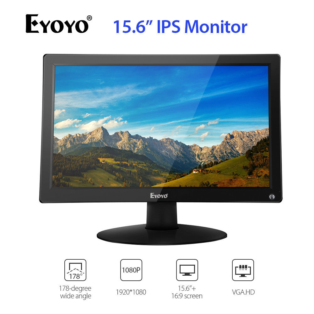 "EYOYO 15.6"" IPS HDMI LCD Monitor Display FHD 1920x1080 Video Color Screen With AV VGA BNC USB For TV PC CCTV Security Camera DVDCCTV Monitor & Display   -"