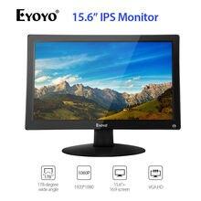 "EYOYO 15.6 ""IPS HDMI LCD monitör ekran FHD 1920x1080 Video renkli ekran AV VGA BNC ile USB TV PC CCTV güvenlik kamera DVD"