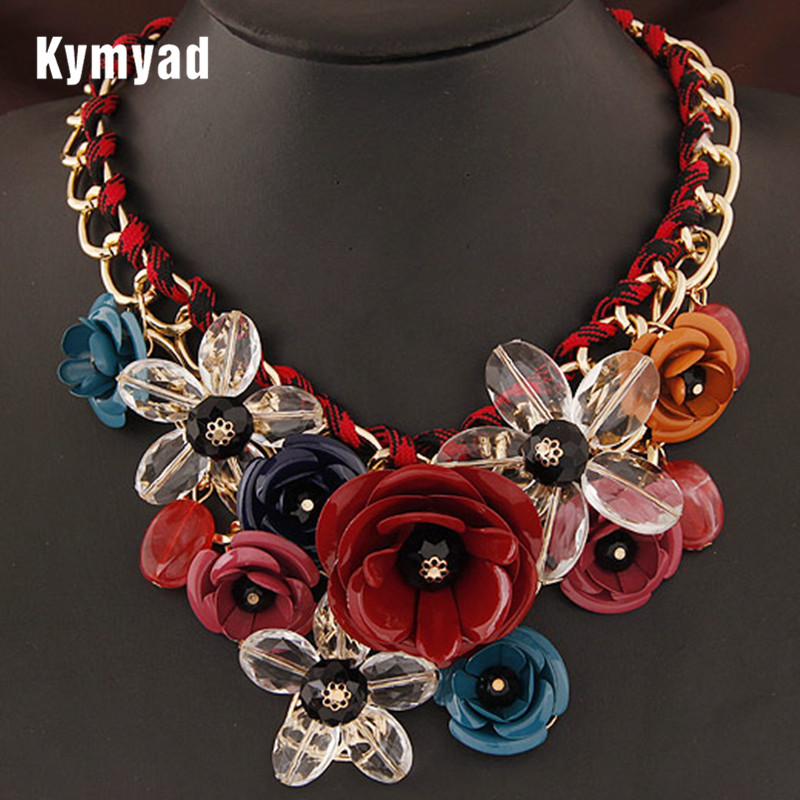 Kymyad Vintage Jewelry Flower Necklaces & Pendants Summer Women Jewelry Choker Statement Necklace Crystal Bijoux Collier