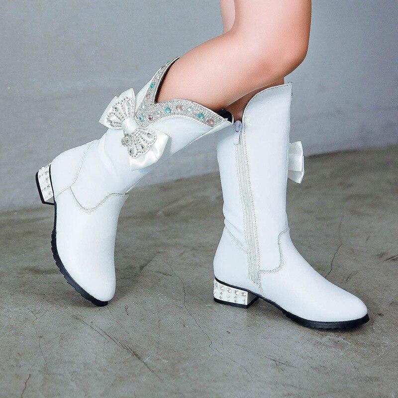 Winter Girls High Boots Rhinestone Bow Warm Plush Children Boots Genuine Leather Kids Girls Fashion Boots Pincess Fur Shoes TX99