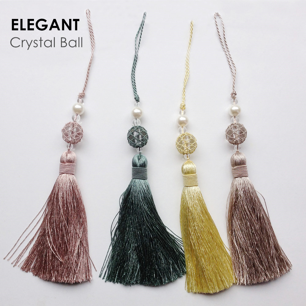 2018 Elegant Mode Små Viscose Crystal Tassel Drops för Hometextile Doorknob Table Runner Bäddsoffa Valance Bag Tillbehör