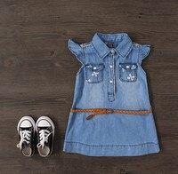 Baby Girls Summer Denim Dresses Girls Fashion Bowknot Print Denim Dress With Belt Kids Summer Dresses