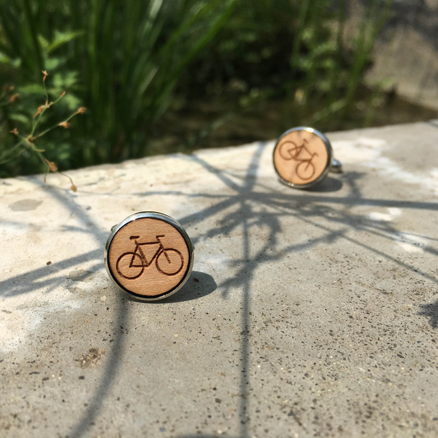 Laser Cut Circle Bicycle Solid Wood Handmade Suit Bike Cufflinks Sport Wooden Cuff Link X 1 Pair