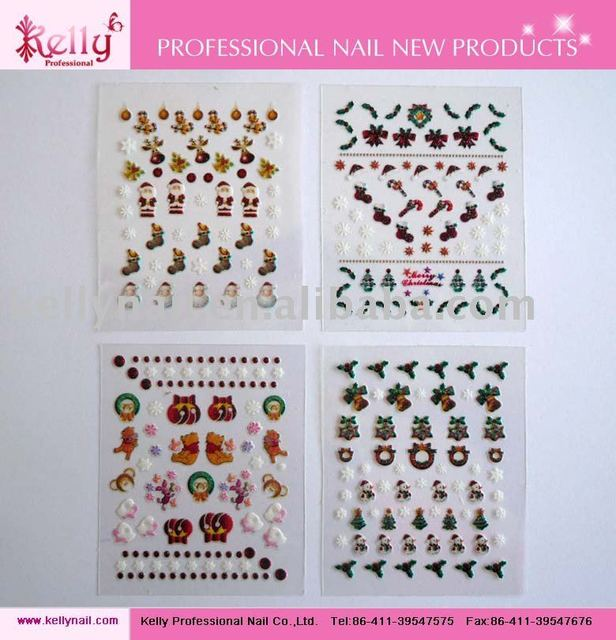 Free Shipping 3D Merry Christmas Patterns 4 Types Mixed Nail Art Sticker