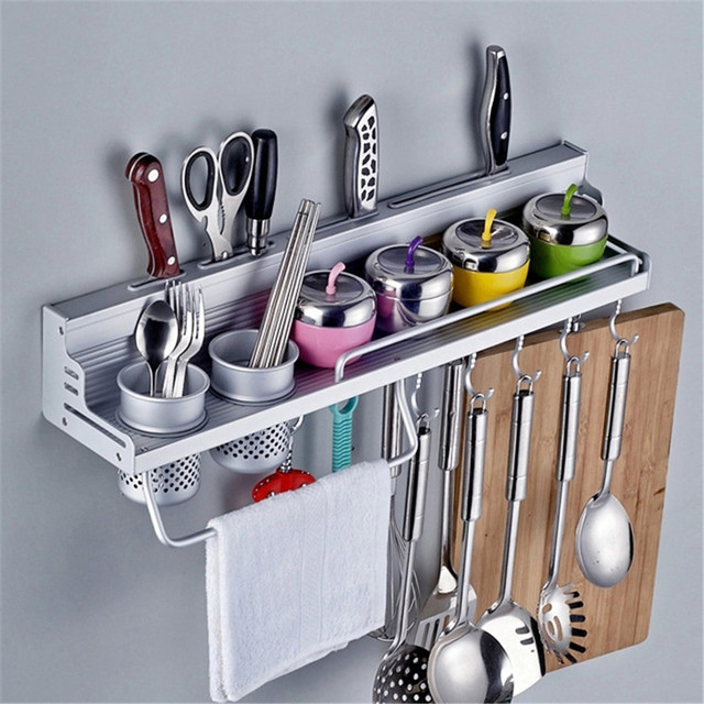 Aluminum Shelf Kitchen Storage Rack Pantry Pan Pot Organizer Cookware  Holder Hooks Spice Dinnerware Shelf 40