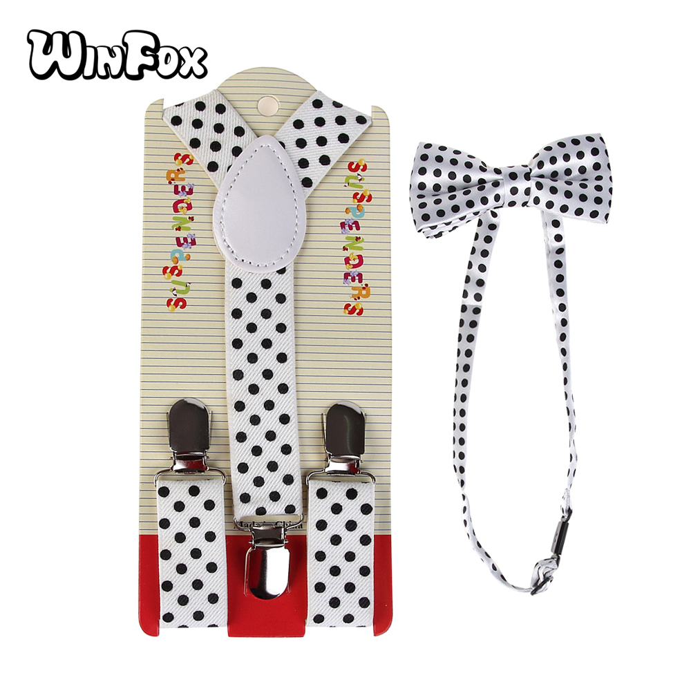 Winfox New Arrival White Dot Unisex Suspender Bowtie Sets Adjustable Suspender Bow Tie Set For Men Women