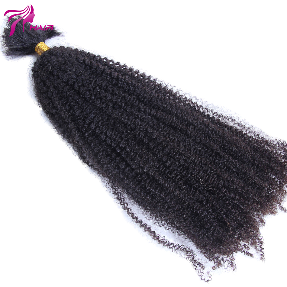 8″-26″ Virgin Brazilian Human Hair Afro Kinky Curly Bulk Hair For Braiding Unprocessed Human Hair Bulk Extensions Pure Color