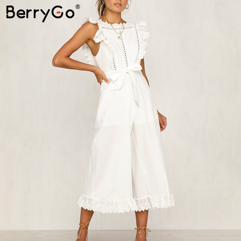 BerryGo linen rompers ruffled  jumpsuit embroidery women jumpsuit Elegant hollow out sashes long jumpsuit romper ladies overalls