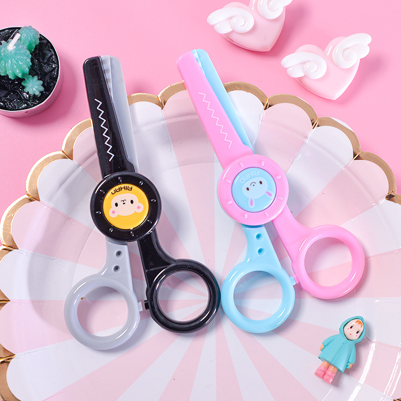 Sawtooth Lace Scissors Kindergarten Kids Crafts Safety Plastic Scissors Paper Cutter Kawaii Stationery Tijeras School Supplies