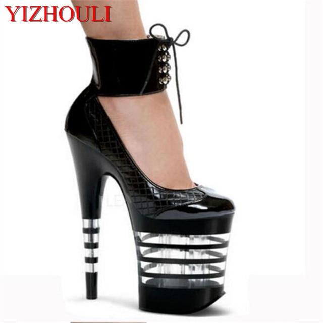 c39450ba fashion single shoes platform 8 inch high-heeled black shoes for women  ankle strap pumps 20cm Stripe Crystal shoes