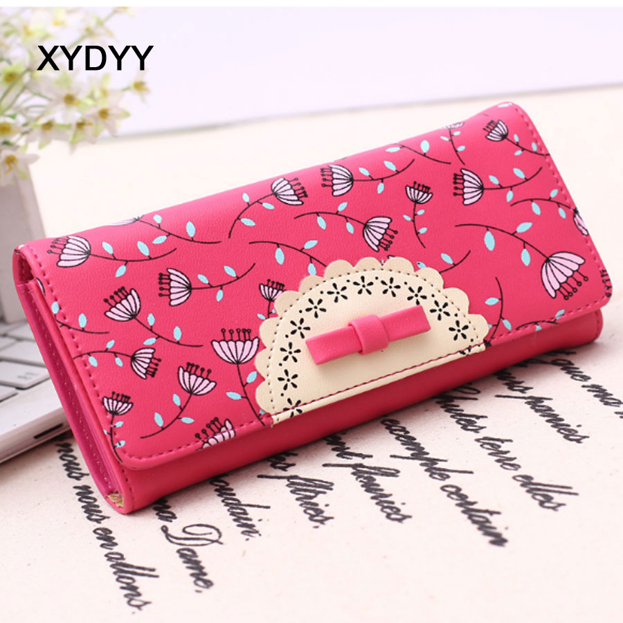XYDYY New Fresh Bowknot Decoration Long Women Wallet Cute PU Leather Female Purse Wallet Mutli-function Card Holder Handbag 2017 brand new cute bowknot purse handbag for women pu leather fashionable wallet zipper high quality free shipping p375