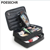 POESECHR New Casual Nylon Waterproof Makeup Travel Cosmetic Bag Case Pouch Toiletry Zipper Solid Large Capacity Wash Organizer