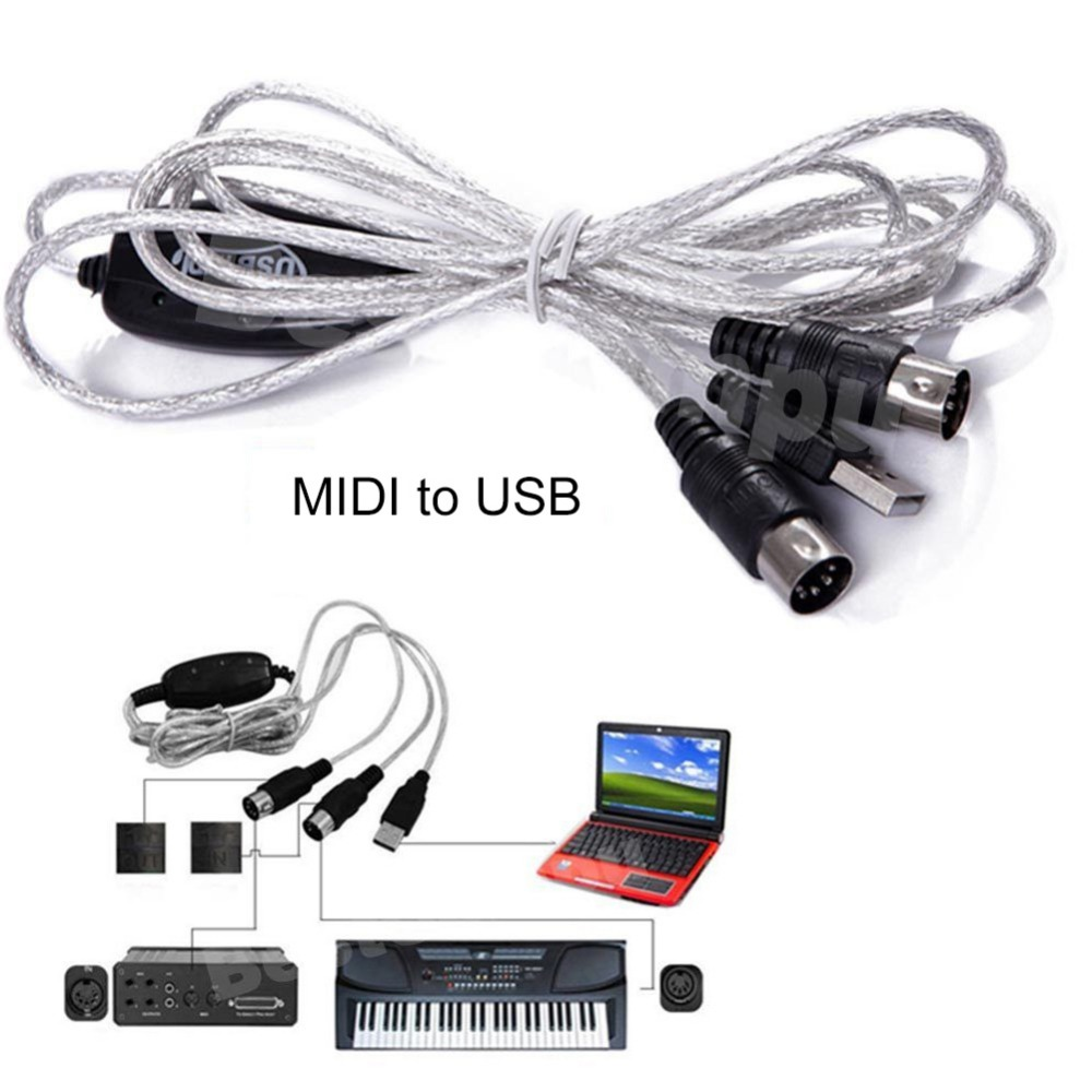MIDI to USB Cable Music Editing Cable MIDI Connecting Line 100% brand new and high quality  With a built-in driver new usb in out midi cable converter pc to music keyboard adapter cord