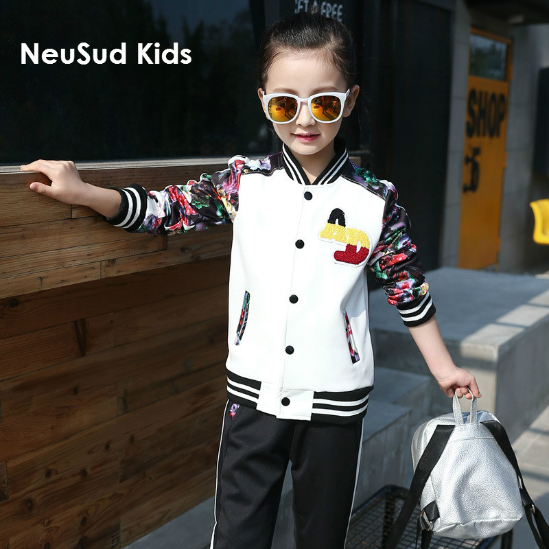 NeuSud Kids 2017 Children Autumn Clothing Sets Girls Casual Coat Kids Long Sleeve Suit and Trousers Two Pieces Set,3-12Y,#2169 autumn winter girls children sets clothing long sleeve o neck pullover cartoon dog sweater short pant suit sets for cute girls