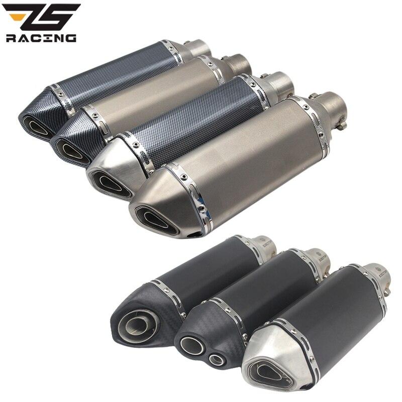 ZS Racing Universal Motorcycle Akrapovic Exhaust Modify Motocross Exhaust Muffler For FZ6 CBR250 CB600 MT07 ATV