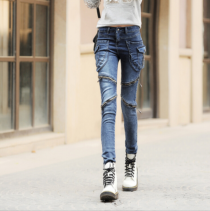 New Europe Style Slim skinny jeans pants personality Long retro casual women jeans four zipper fashion women denim pants A0004 women jeans autumn new fashion high waisted boyfriend street style roll up bottom casual denim long pants sp2096