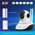 H.264 P2P Камеры Безопасности Системы ВИДЕОНАБЛЮДЕНИЯ Smart ip-камера + 3 Датчик двери + 3 Инфракрасный Motion Датчик Охранной сигнализации Защиты BW02D