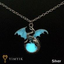 YimYik Game of Throne dragon Punk Luminous Dragon Pendants & Necklaces Glow in the DARK dragon amulet Sweater Chain Gift ancient