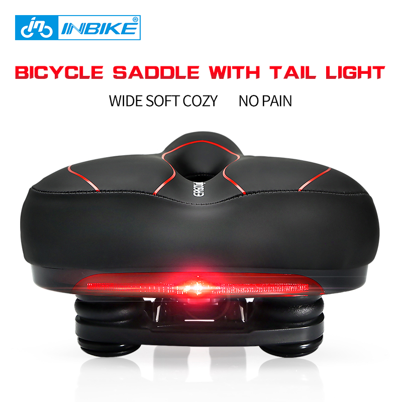 INBIKE Bicycle <font><b>Saddle</b></font> with Tail Light Widen MTB Cushion Road Bike Soft Comfortable Seat Spare Parts for Bicycles almofada selle