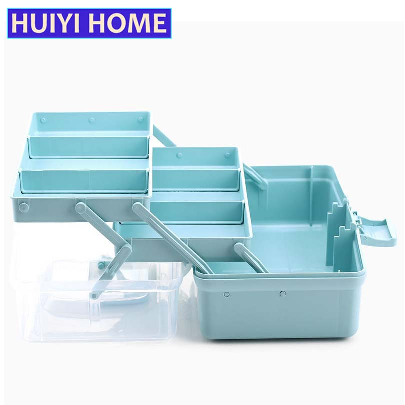 HUIYI HOME Portable Medicine Box 3 Layers Mediacl Kit Multi-Function Plastic Tool Storage Box EGL123