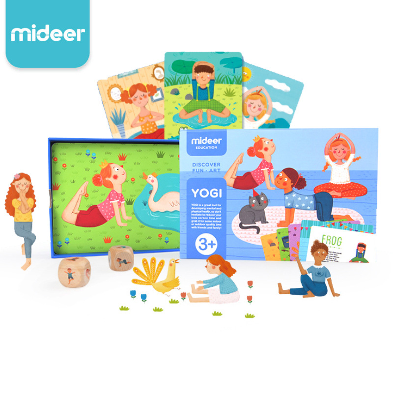Mideer Family Yoga Game Cognitive Yogi Cards Baby Fitness Parent child Interactive Enlightenment Game Card Toys