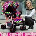 Leve carrinhos pode sentar lie quatro bidirecional choque guarda-chuva dobrado buggies carrinho de bebê BB carro