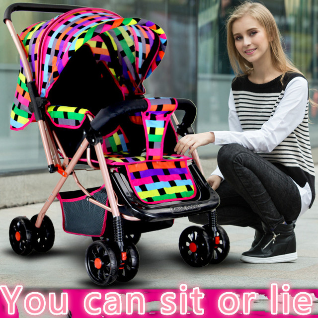 Lightweight strollers can sit lie four bidirectional shock folded umbrella buggies baby stroller car BB