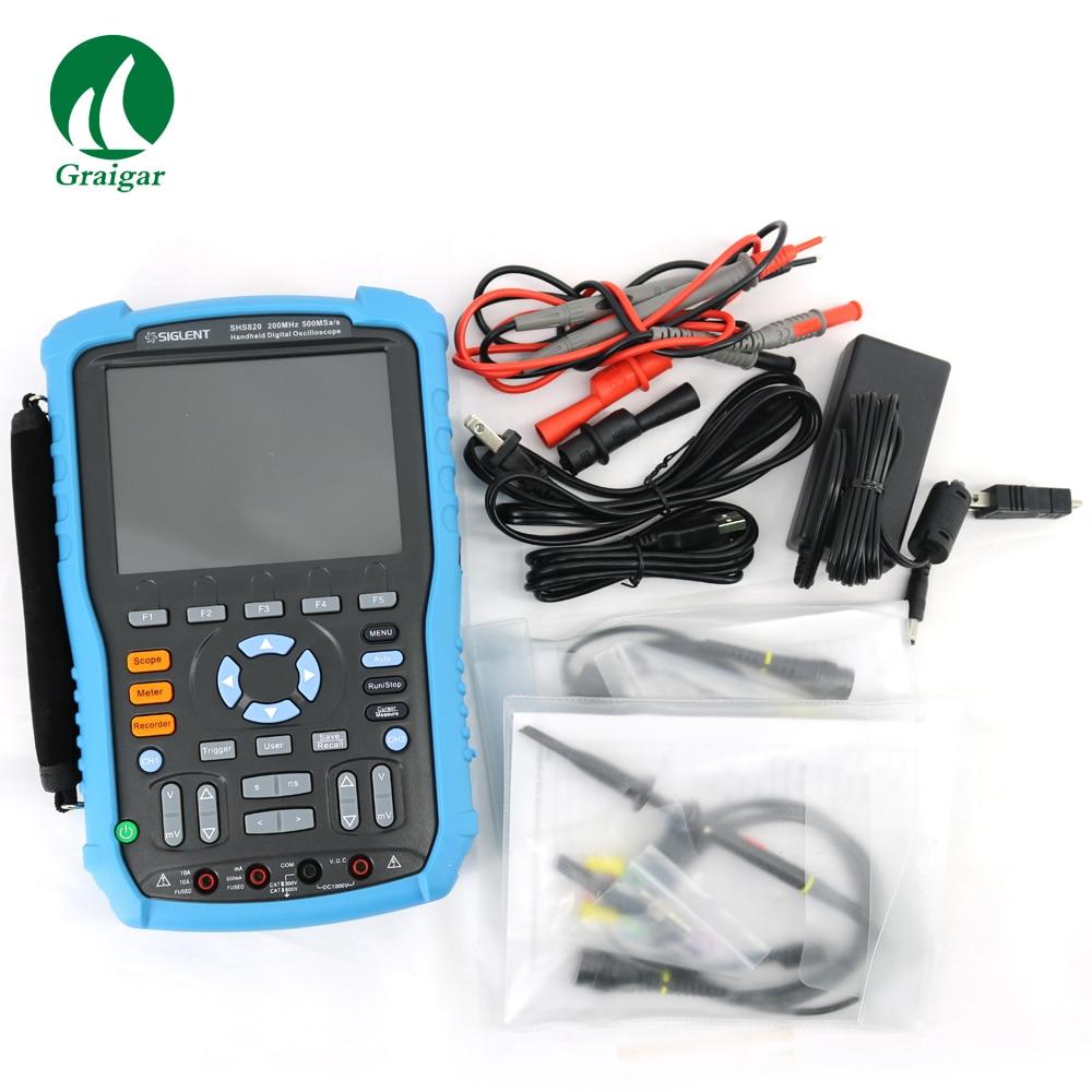 Siglent SHS820 Digital Handheld Oscilloscope Multimeter 2 in1 200MHz 500MSa/s 2 Channels 32Kpts осциллограф siglent sds1102dl 100 2 7 32kpts 500msa s sds 1102dl