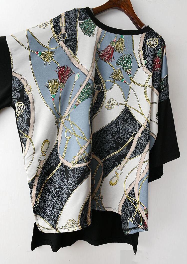 Long Women Europe Fashion 2019 Spring Summer O-neck Short Sleeve T-shirt Female Patchwork Casual Irregular Tee E470 9