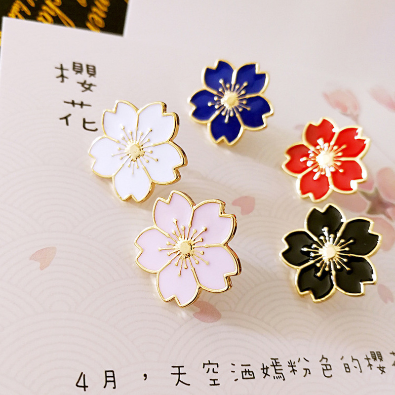 1 Pcs Beautiful Sakura Metal Badge Brooch Button Pins Denim Jacket Pin Jewelry Decoration Badge For Clothes Lapel Pins