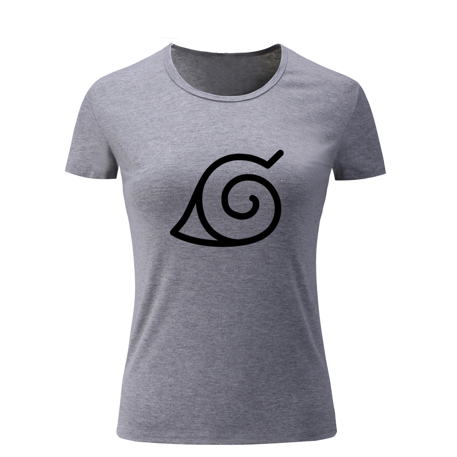 Anime One Piece Naruto Konoha Symbol T Shirt Women Tops Special Design T-shirts for Girl Lady Femme Fashion Cotton Streetwear