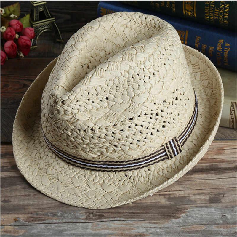 b531c872 ... 1PC Fashion Sunhat Handwork Women Summer Straw Sun Hat Boho Beach  Fedora Hat Men Panama Hat ...