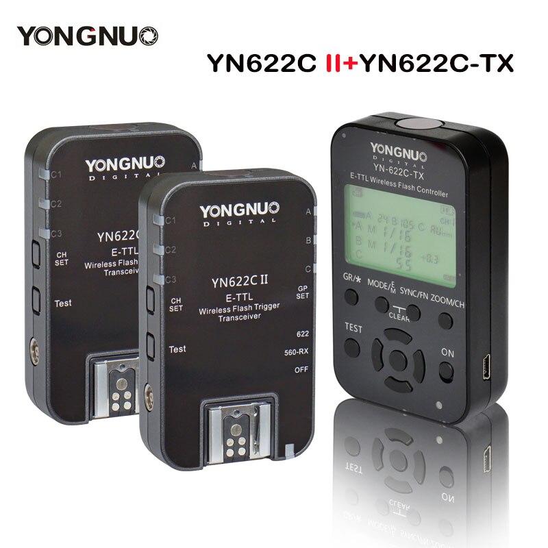 Yongnuo Transmitter Controller YN622C-TX + 2pcs YN622C E-TLL Wireless Flash Trigger Transceiver  for Canon YN685 YN600EX-RT II yongnuo yn685 yn 685 беспроводной доступ в эти speedlite флэш построить в ttl приемник работает с yn622c yn622ii c yn622c tx yn560iv yn560 tx