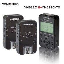 Yongnuo 송신기 컨트롤러 YN622C TX + 2 pcs yn622c E TLL 캐논 yn685 YN600EX RT ii에 대 한 무선 플래시 트리거 송수신기