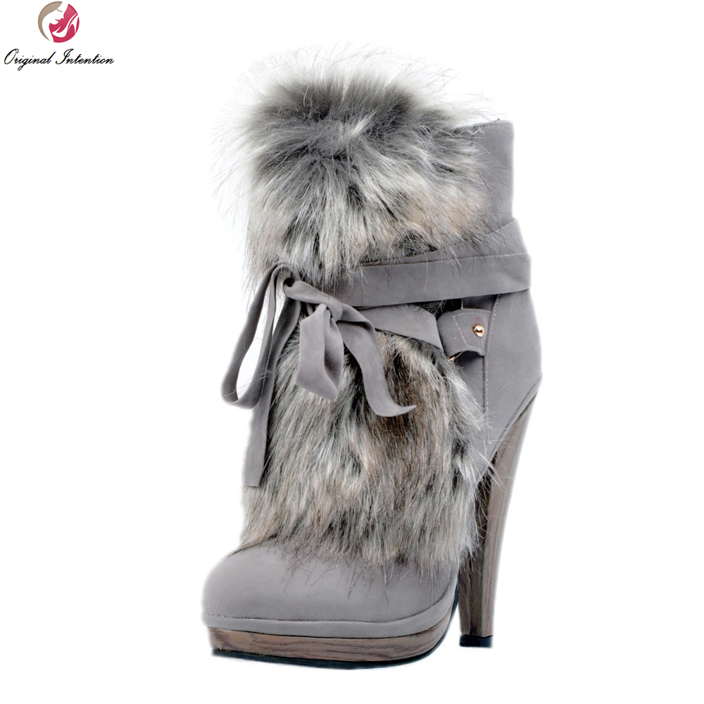 Original Intention New Design Women Ankle Boots Platform Round Toe Spike Heels High-quality Grey Shoes Woman Plus US Size 4-15 free shipping fashion dress women s spike heels high heel round toe fleece ankle boots large size us 4 19