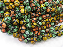 2strands 16″ Rainbow Tibetan DIZ Agate Beads – Round faceted Gemstone Beads red green black evil agate neckalce green beads 8-16
