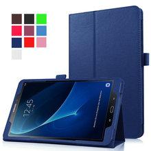 Para Samsung Galaxy Tab Un A6 10.1 2016 T580 T580N T585 T585N Piel Lichee Estilo tablet Plegable Del Tirón de LA PU Cubierta de la Caja + 2 pantalla película