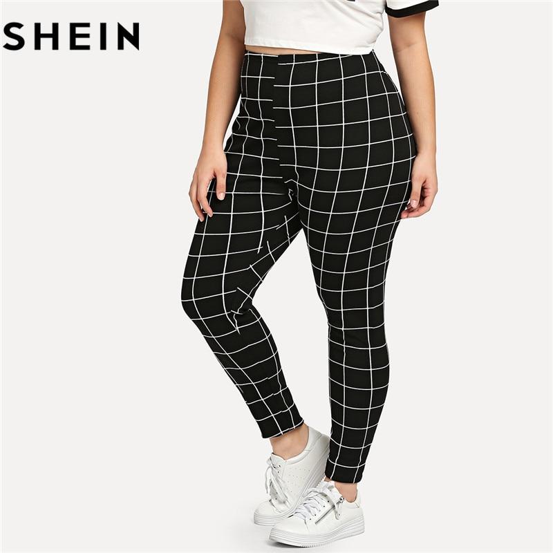 SHEIN Black And White Plaid Plus Size Mid Waist Women Leggings Autumn Winter Grid Print Long Casual Legging
