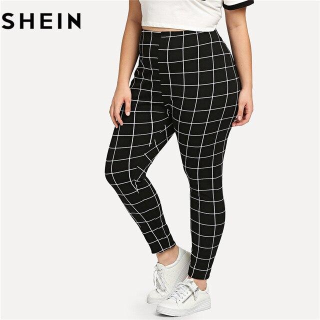 a7172f36d3 SHEIN Black And White Plaid Plus Size Mid Waist Women Leggings Autumn  Winter Grid Print Long Casual Legging