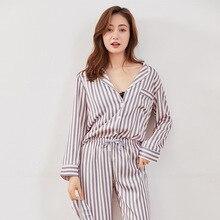 가을 하이 엔드 모조 실크 pijama 춤 여자 인쇄 긴 소매 바지 잠옷 스트라이프 새틴 잠옷 핑크 홈 pj 세트