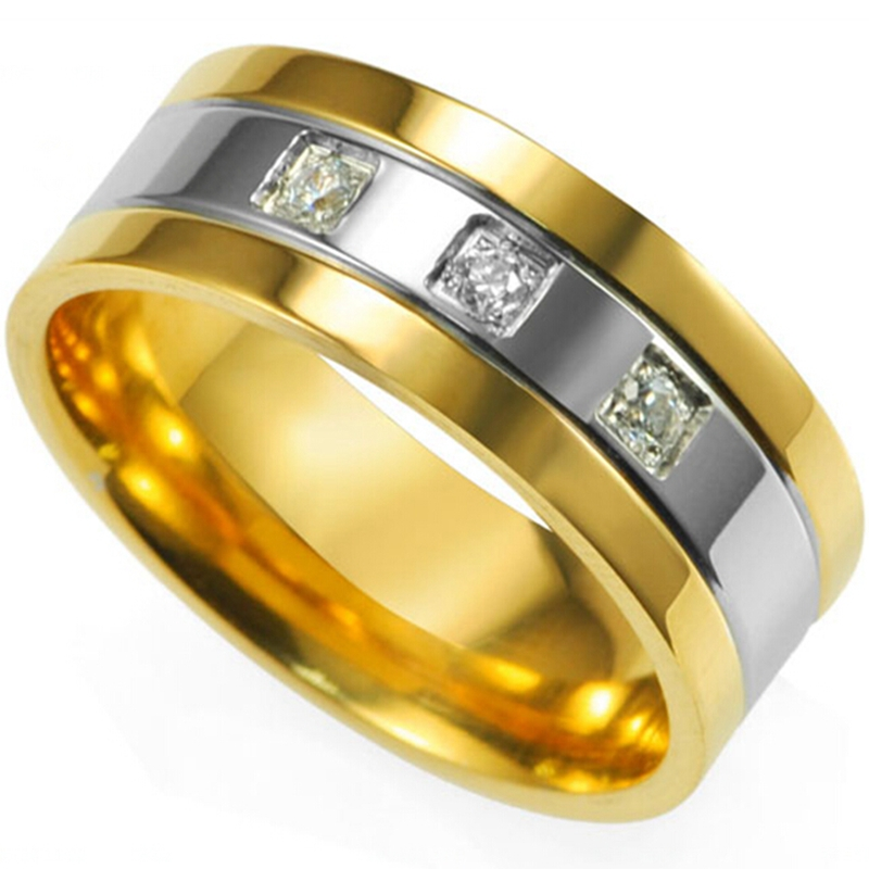 8MM Ukuran 7 8 9 10 11 12 13 14 15 Stainless Steel Two-Tone Pernikahan Engagement Sekolah Ayah Cincin Band Klasik Two-Tone