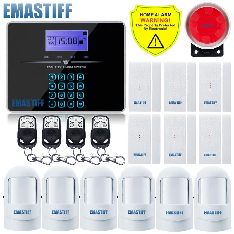 Free Shipping Wireless SIM GSM Home Burglar Security LCD Touch Keyboard PSTN GSM Alarm System Sensor